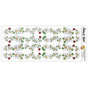 "Suzy's Zoo White Flowers & Ladybugs Border Stickers Vintage Scrapbooking Sheet 5"" x 12"""