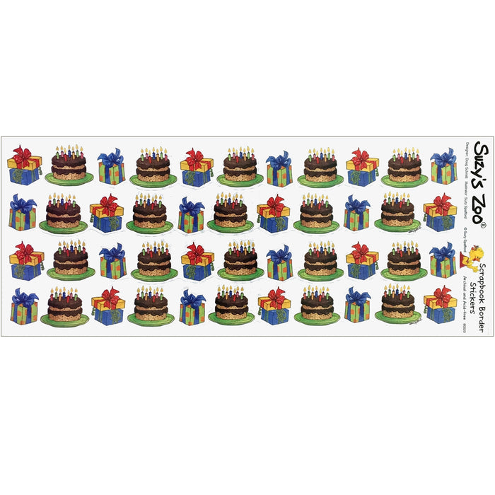 "Suzy's Zoo Birthday Cakes & Presents Border Stickers Vintage Scrapbooking Sheet 5"" x 12"""