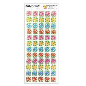 "Suzy's Zoo 12 x 5 Daisy Flowers Border Stickers Vintage Scrapbooking Sheet 5"" x 12"""