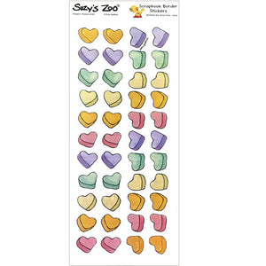 "Suzy's Zoo Valentine Hearts Border Stickers Vintage Scrapbooking Sheet 5"" x 12"""