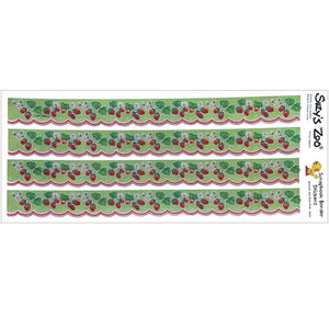 "Suzy's Zoo 4 Strawberry Scalloped Border Stickers Vintage Scrapbooking Sheet 5"" x 12"""