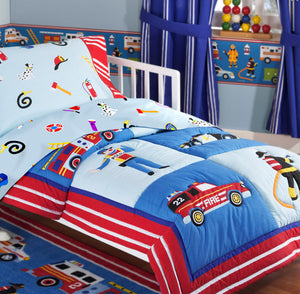 Rescue Heroes Fire Truck Police Car Cotton Toddler/Crib Bedding Set Comforter & Sheets Blue Red