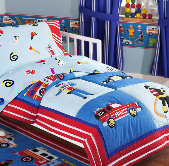 Rescue Heroes Fire Truck Police Car Toddler Cotton Bedding Set Comforter & Sheets Blue Red