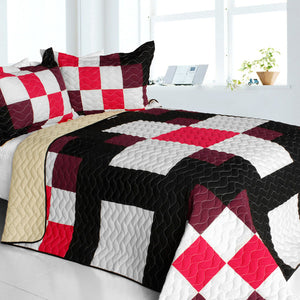 Red White Black Brown Patchwork Teen Bedding Girl Boy 3pc Full/Queen Quilt Set Bedspread