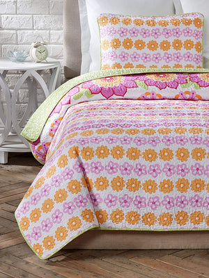 Pink Green Daisy Floral Girl Bedding Twin Full/Queen Cotton Quilt Set
