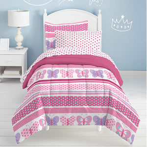 Pink Butterfly Dots Girls Bedding Todder, Twin or Full Comforter Set Bed in a Bag Ensemble
