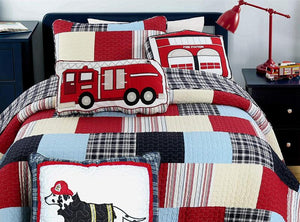 "Vintage Red Fire Truck Cotton Decorative Throw Pillow 22"" x 11"""