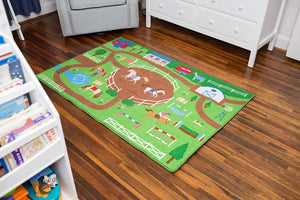 "Playing Horses Educational Play Rug 39"" x 80"""