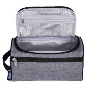 Grey Tweed Fabric Toiletry Bag