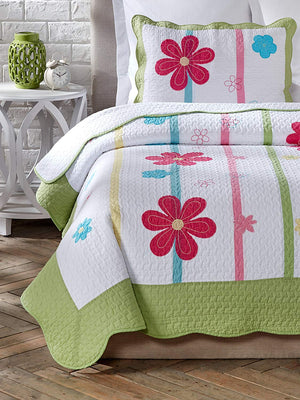 Pink & Green Daisy Floral Girl Bedding Twin Quilt Set Cotton Bedspread