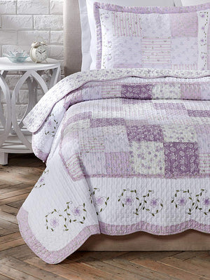 Romantic Lavender Girl Bedding Floral Lace & Patchwork Twin Cotton Reversible Bedspread