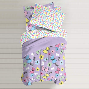 Purple Butterfly Girls Bedding Twin or Full Comforter Set Bed in a Bag Ensemble