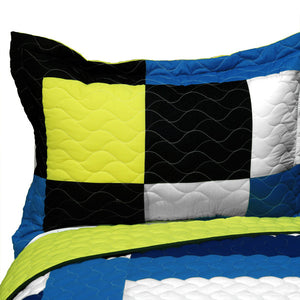 White Blue Yellow Black Geometric Teen Boy Bedding Full/Queen Patchwork Quilt Set Modern Bespread