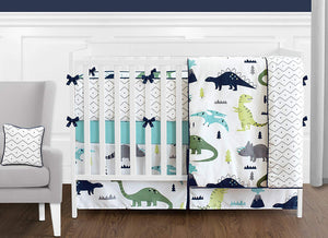 Blue Green Dinosaur Reversible Crib Rail Guard Covers