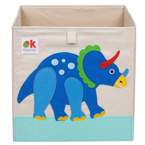 "Dinosaur 13"" Cube Canvas Toy Storage Box / Bin with Applique"
