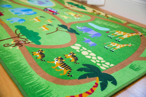 "Safari Wild Animals Educational Play Rug 39"" x 80"""