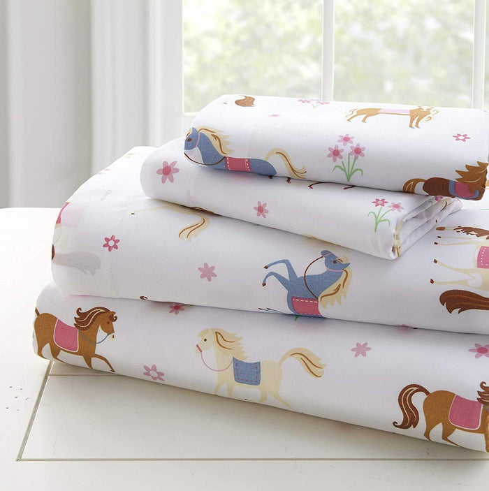 Pony Horses & Floral Kids Microfiber Bed Sheet Set Toddler Twin Full