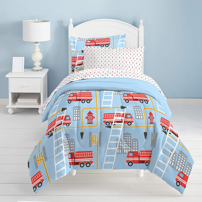 Blue Red Fire Truck Boy Bedding Twin or Full Comforter Set Bed in a Bag
