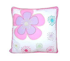 "Pink Floral Daisy Decorative Throw Pillow Cotton 18"" x 18"""