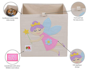 "Fairy Princess 13"" Cube Canvas Toy Storage Box / Bin with Applique"