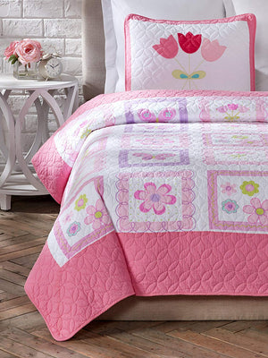Pink Butterflies & Flowers Girl Bedding Twin Cotton Quilt Set