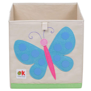 "Butterfly 13"" Cube Canvas Toy Storage Box / Bin with Applique"