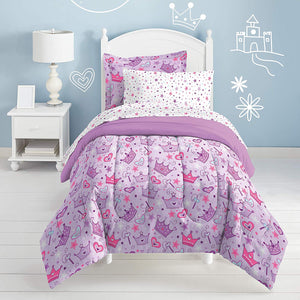 Purple Princess Crowns Bedding Little Girls Twin or Full Comforter Set Bed in a Bag Ensemble