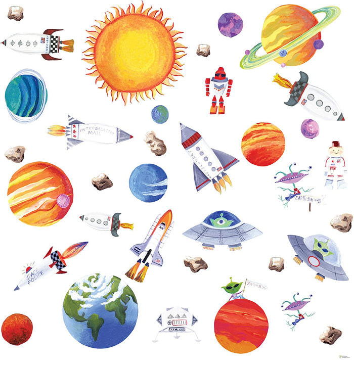 Outer Space Peel & Stick  Wall Decals Stickers Solar System Planets