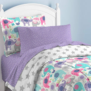 Elly Elephant Girl Bedding Twin or Full Comforter Set Bed in a Bag Ensemble Pink Purple