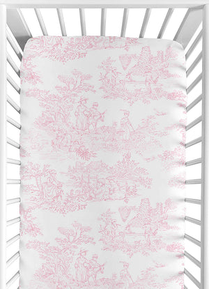 Pink Toile Print Baby Girl Fitted Crib Toddler or Portable Mini Crib Sheet