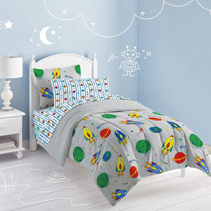 Gray Outer Space Rocket Boys Bedding Twin Comforter Set Bed in a Bag Ensemble