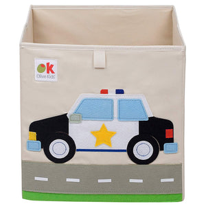 "Police Car 13"" Cube Canvas Toy Storage Box / Bin with Applique"