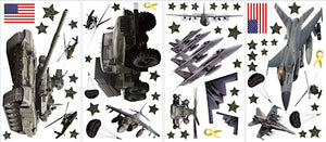 US Army Military Wall Decals Stickers Helicopters, Airplanes, Tank, American Flags Peel and Stick