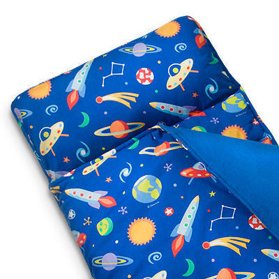 Galaxy Outer Space Kids Blue Nap Mat - Child/Toddler Boy Sleeping Bag