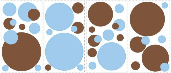 Blue Brown Just Dots Polka Dot Peel & Stick Wall Decals Stickers