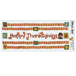 "Suzy's Zoo Happy Thanksgiving Border Stickers Vintage Scrapbooking Sheet 5"" x 12"""
