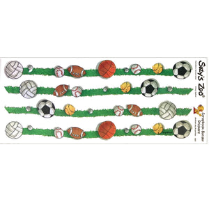 "Suzy's Zoo Sports Balls Grass 4 Border Stickers Vintage Scrapbooking Sheet 5"" x 12"""
