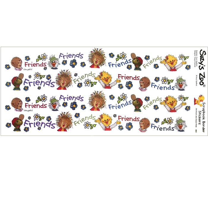 "Suzy's Zoo Friends Border Stickers Vintage Scrapbooking Sheet 5"" x 12"""