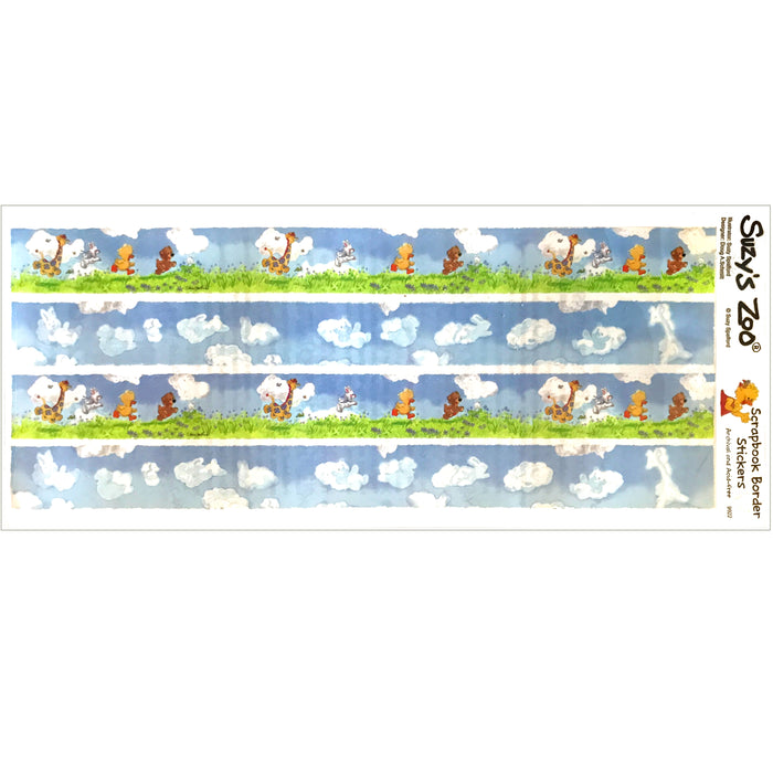 "Little Suzy's Zoo Running Baby Animals Border Stickers Vintage Scrapbooking Sheet 5"" x 12"""