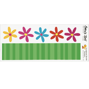 "Suzy's Zoo 5 Daisy Flowers & Stems Border Stickers Vintage Scrapbooking Sheet 5"" x 12"""