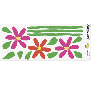 "Suzy's Zoo 3 Daisy Flowers & Stems Border Stickers Vintage Scrapbooking Sheet 5"" x 12"""