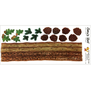 "Suzy's Zoo Woodland Pine Cones Border Stickers Vintage Scrapbooking Sheet 5"" x 12"""