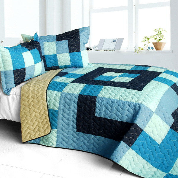 Blue Checkered Patchwork Teen Boy Bedding Full/Queen Quilt Set Modern Geometric Bedspread