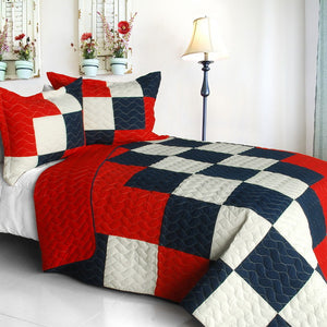 Red Blue Black & White Teen Bedding Boy Girl Full/Queen Quilt Set Checkered Patchwork Bedspread