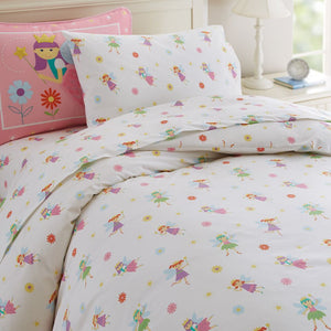 Fairy Princess Bed Sheet Set for Girls Toddler, Twin or Full Cotton