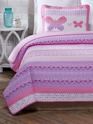 Pink Butterflies & Hearts Quilt Set