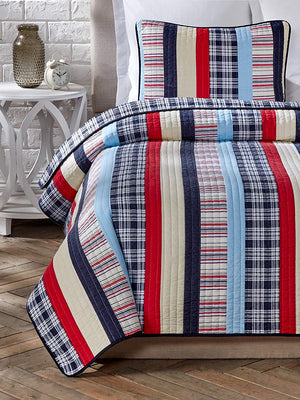 Patriotic Varsity Plaid Striped Teen Boy Bedding Twin Full/Queen Cotton Quilt Set Elegant Red White Navy