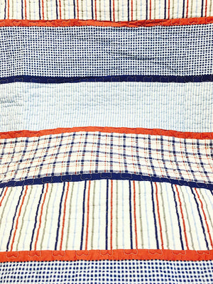 Vintage Fire Truck Red Blue Striped Boy Bedding Twin Full/Queen Reversible Cotton Quilt Set