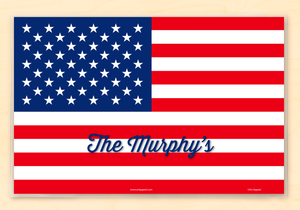 "American USA Flag Personalized Placemat 18"" x 12"" with Alphabet"