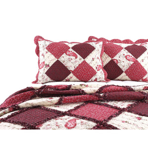 Red Patchwork Floral Ruffle Bedding Full/Queen King Elegant Romantic Victorian Quilt Set